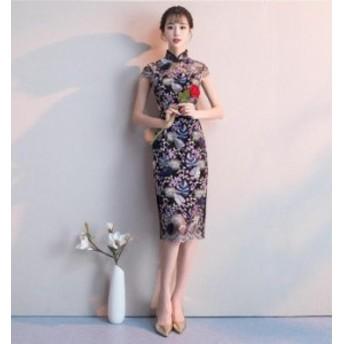 花柄 チャイナドレス パーティードレス 透け感レース イブニングドレス フォーマルドレス ミモレ丈 結婚式 二次会 お呼ばれドレス