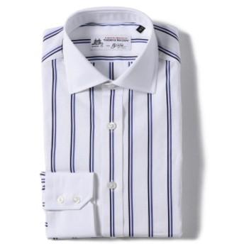 Brilla per il gusto / ダブルストライプ クレリック ワイドカラーシャツ(THOMAS MASON fabric) メンズ ドレスシャツ WHITE 37