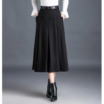 ロングスカート シック ミモレ丈 ハイウエスト フレア 無地 お呼ばれ 大きいサイズ レディース スカート