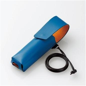 エレコム ET-IQM3LC1BU IQOS3MULTI用ネックストラップ付レザーカバー ブルー