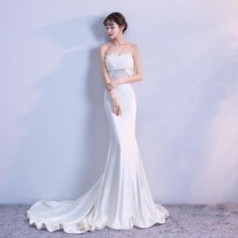 清楚なフリルのフェミニンなドレス ホワイト フリル トレーン ストラップレス ウェディングドレス 結婚式 披露宴 N290