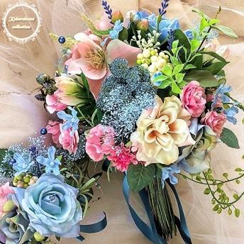 ピンクとブルーのブーケ+ブートニア/ブライダルブーケ ウエディングブーケ 前撮り 造花 プリザーブド 結婚式 サムシングブルー ひなげし 春 夏 かすみ草 人気の色 ナチュラル 青 おしゃれビーズ