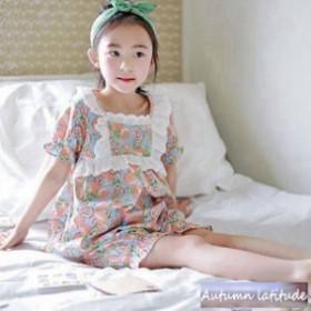 子どもパジャマ 女の子 子供パジャマ 半袖 ルームウェア レース 寝間着 可愛い 上下セット キルト ハーフパンツ ナイトウェア 夏用 部屋