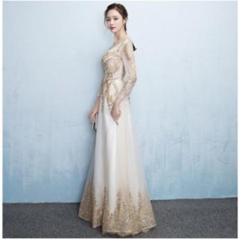 ゴールドとビジューの輝きがゴージャス シャンパン スレンダーライン ウェディングドレス 結婚式 披露宴 お色直し N283