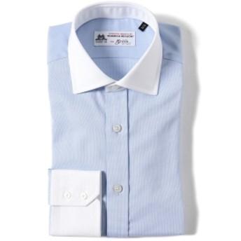 Brilla per il gusto / ドビークロス クレリック ワイドカラーシャツ(THOMAS MASON fabric) メンズ ドレスシャツ LT. BLUE 37