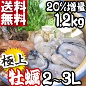 送料無料 広島県産 牡蠣 2Lサイズ 1.2kg 20%増量 プロ仕様業務用 冷凍加工広島県産大粒 かき 簡易包装のみが 訳あり わけあり 海鮮鍋