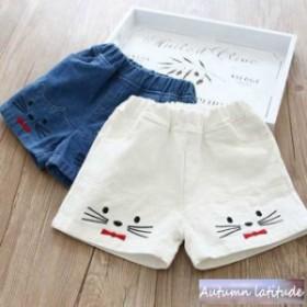 子供服 短パン 女の子 白 デニム風 ショートパンツ 刺繍 韓国子供服 夏 キッズ 猫ちゃん