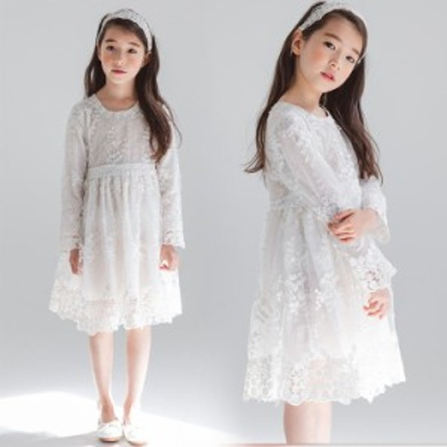 e869c1c49040c 子供服 白い レース ワンピース 韓国子供服 女の子 長袖 ワンピース キッズ 可愛い 春秋レッド ホワイト