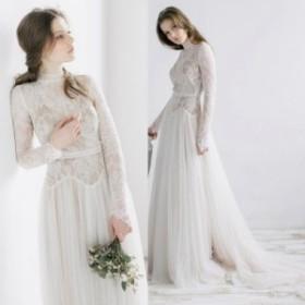 女性らしくロマンチックなドレス ロングトレーンでエレガントに ホワイト ウェディングドレス 結婚式 パーティー 披露宴 N251