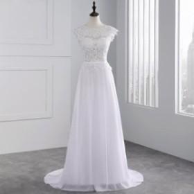 大切な日にふさわしい凛とした空気感 レースをふんだんにあしらいゴージャスに ホワイト ウェディングドレス 結婚式 披露宴 N228