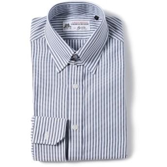 Brilla per il gusto / ドビークロスストライプ タブカラーシャツ(THOMAS MASON fabric) メンズ ドレスシャツ BLUE 39