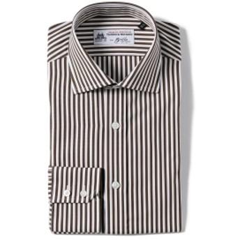 Brilla per il gusto / ロンドンストライプ ワイドカラーシャツ(THOMAS MASON fabric) メンズ ドレスシャツ D.BROWN 38