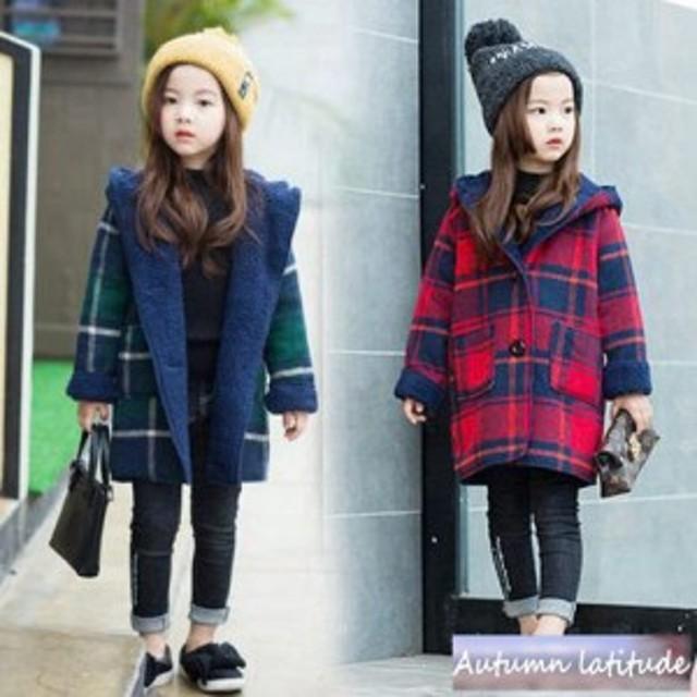 d9eff993b3b81 子供服 女の子 ダッフルコート 女児 子供服 ロング 冬服 チェック柄 韓国子供服. トップ 子供用品 キッズファッション その他