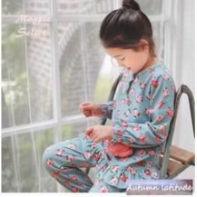 子供服 パジャマ キッズ 韓国子供服 ルームウェア 花柄 女の子 長袖 上下セット