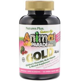 Source of Life, アニマルパレードゴールド、子供用チュアブルマルチビタミン&ミネラル、スイカ風味、動物型タブレット120錠