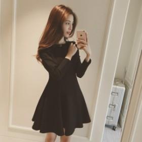 黒 ハイウエストドレス スカート ふわふわ 結婚式 2次会 謝恩会 パーティー ワンピース エレガント 上品 可愛いK49