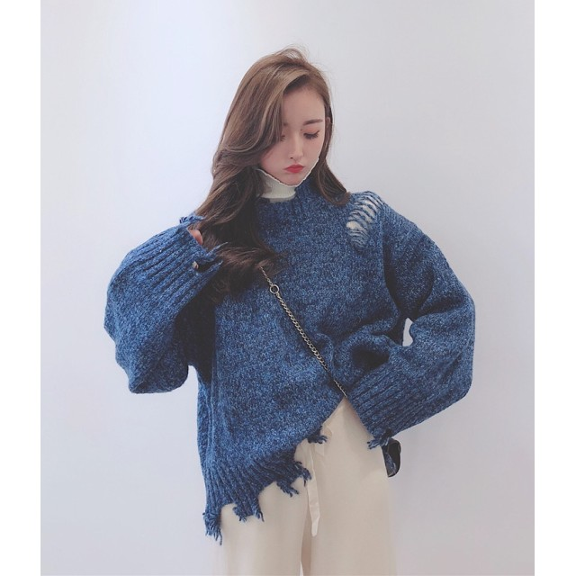 [55555SHOP] 個性的なデザイン 韓国風 ダメージ加工 引き裂き 磨耗 ウール ブレンド セーター ニット レディース