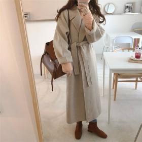 Fashions、2019新品 ベルト付きドロップショルダーロングチェスターコート 韓国ファッション レディース新作OL通勤