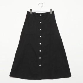 スタイルブロック STYLEBLOCK 綿グログランフロント釦スカート (ブラック)