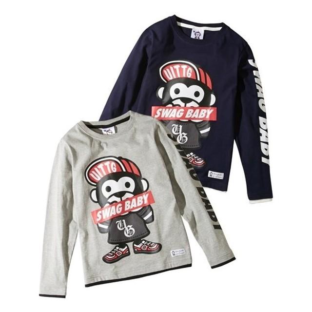 badafe51bf8de アウター キッズ おさる 綿混袖プリント長袖Tシャツ(男の子・女の子 ...
