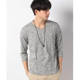 【38%OFF】 マルカワ 杢 無地 ネックレス付き Vネック 7分袖Tシャツ メンズ ミディアムグレー XL 【MARUKAWA】 【タイムセール開催中】