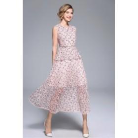 パーティードレス 結婚式 二次会ワンピース レース ロング丈 ノースリーブ 20代 30代 ピンク 花柄 シースルー フェミニン お呼ばれ 韓国