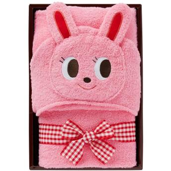 ミキハウス ■フード付きバスタオル【ピンク(ウサギ)】