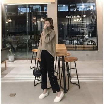 韓国ファッション 2019新品 大人気 ワイドレッグパンツ 女性 秋冬 新ボタン 9点パンツ ルーズ ストレートパンツ ファッション カジュアルパンツ ニットパンツ