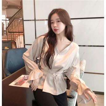 2018 超人気 韓国ファッション 韓国風 無地 ルース フレア袖 長袖 ブラウス
