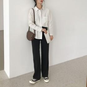 シャツ - G & L Style レディース トップス 長袖 シャツ ビッグ ペアルック 羽織 秋冬春 ストライプ 5651