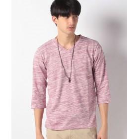 マルカワ 杢 無地 ネックレス付き Vネック 7分袖Tシャツ メンズ ワイン M 【MARUKAWA】