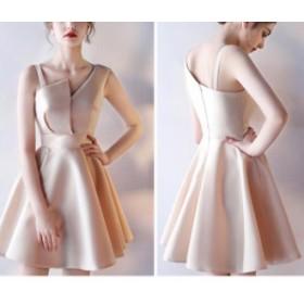パーティードレス 結婚式 二次会ワンピース ミニ丈 ノースリーブ 20代 ベージュ きれいめ 二次会 お呼ばれ ブライズメイド 韓国ドレス