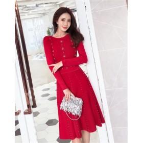 2019 春まで着れる ♪トレンドデザイン♪レディース 韓国ファッション ニットワンピース 気質 レディース パーティードレス ロングセクション ビーズドレス