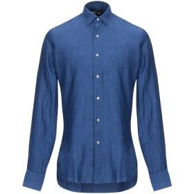 《期間限定 セール開催中》UNGARO メンズ シャツ ブルー 39 麻 100%