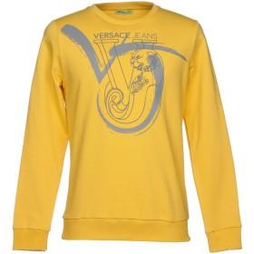《セール開催中》VERSACE JEANS メンズ スウェットシャツ イエロー S 100% ポリエステル