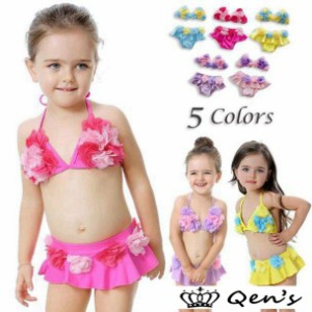 b2f3826265a 子供水着 女の子 ビキニ M キッズ用 セパレート XL 可愛い ベビー 水着 韓国 フラワー 水着 速