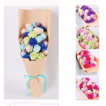花束 クリスマスプレゼントソープフラワー 造花 14本花束ギフトボックス カーネーション+バラー 結婚祝い 誕生日 母の日 ギフト お祝い