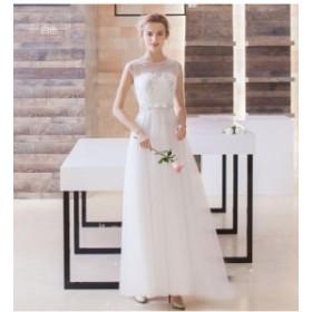 ウェディング パーティー マーメイド Aライン ドレス 花嫁 結婚式ドレス 高級 エンパイアドレス 花レース ウェディングドレス hjj019