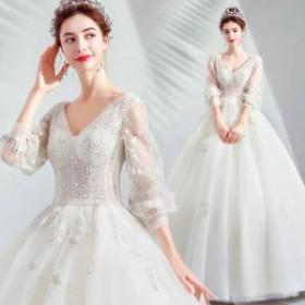 2019 ウエディングドレス ロングドレス マキシ イブニングドレス パーティドレス 演奏会 お嫁さん 高級感おしゃれ