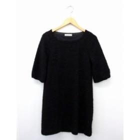 キャサリンロス KATHARINE ROSS ワンピース スカート 5分袖 ラメ 丸首 M ブラック 黒 /UT6 レディース