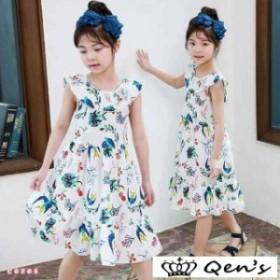 袖なしワンピース キッズ 夏 可愛い 韓国子供服 女の子 花柄 子供服