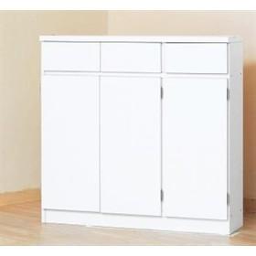 1cmピッチカウンター下収納 90幅 KUC-90(ホワイト) 幅90×奥行27×高さ87cm キッチン収納