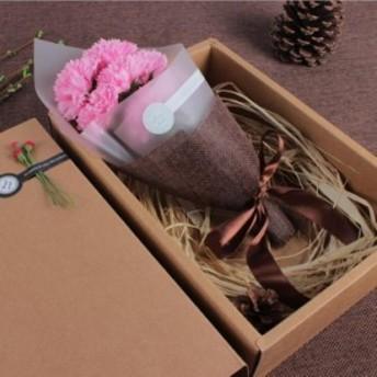 花束 ソープフラワー フラワー ソープ 造花 花束 ブーケ ボックス プレゼント 花 カーネーション フレグランスソープフラワー 7輪