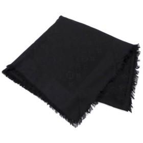 ルイ・ヴィトン スカーフ ショール M71329 モノグラム 黒 シルク×ウール 【中古】(44936)