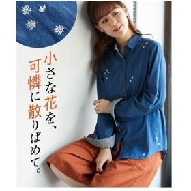 大きいサイズ レディース 綿100% デニム バック 刺しゅう袖ターン シャツ プルオーバー  LL/3L ニッセン
