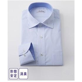 ワイシャツ ビジネス メンズ 消臭芯地使用形態安定 長袖 配色デザイン レギュラー カラー  M/L/LL ニッセン