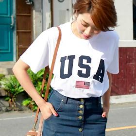 Tシャツ - ANGELCLOSET 「全4色」USAロゴ USA USAロゴ ロゴT usa ロゴ t シャツ 刺繍 トップス カットソー ビッグT レディースゆったりネイティブ