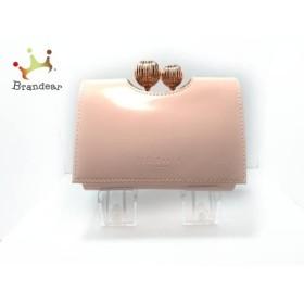 テッドベイカー TED BAKER 3つ折り財布 美品 ピンク×ピンクゴールド がま口 レザー     スペシャル特価 20190716
