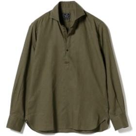 ORIAN / リネンコットン ソリッド プルオーバーシャツ メンズ カジュアルシャツ BROWN/75 L