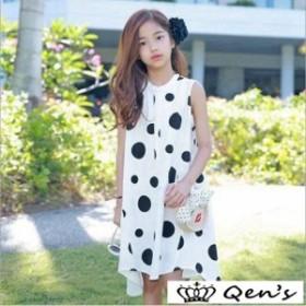子供服 ワンピース 夏 親子ペア 水玉 ゆったり ノースリーブワンピース 女の子 キッズ 可愛い 韓国子供服